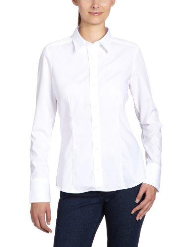 Seidensticker Damen Regular Fit Bluse Hemdbluse Langarm Regular Fit Uni Bügelfrei, Weiß (1), 44 (Herstellergröße: 44)