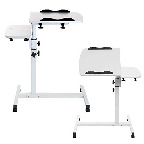 Portable Laptop Desk Table Stand Lap, Standing Angle&Height Adjustable Computer Desk, Movable with Wheels, Portable Side Table for Bed Sofa PC Notebook Study work(White)