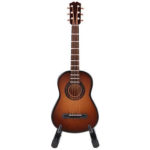 Miniatur Gitarre Modell Holz Musikinstrument mit Stand und Box Kinderzimmer Dekoration Kleine Handwerk Ornamente Wohnkultur (Braun 10cm)