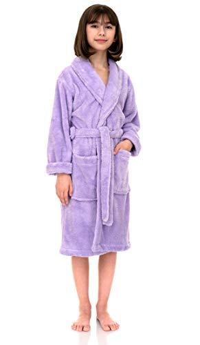 TowelSelections Big Girls' Robe, Kids Plush Shawl Fleece Bathrobe Size 14 Lavender