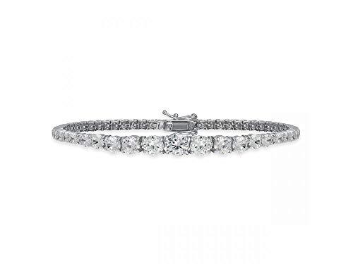 Remo Gammella Pulsera para hombre y mujer, de plata 925, con circonitas de corte brillante, diamante de 3 a 7 mm, color blanco, de ley y plateado. Tamaño: 19 cm, color blanco.