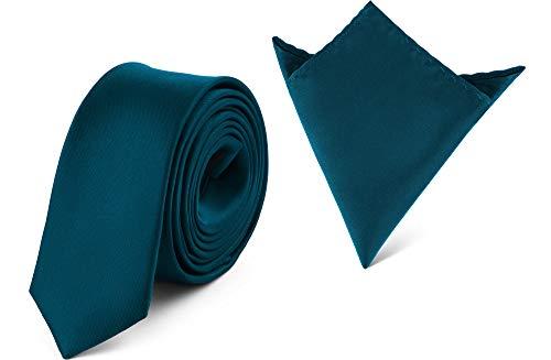 Ladeheid Herren Schmale Krawatte & Einstecktuch Set SP/P (150cm x 5cm, 22cm x 22cm, Dunkel smaragdgrün)