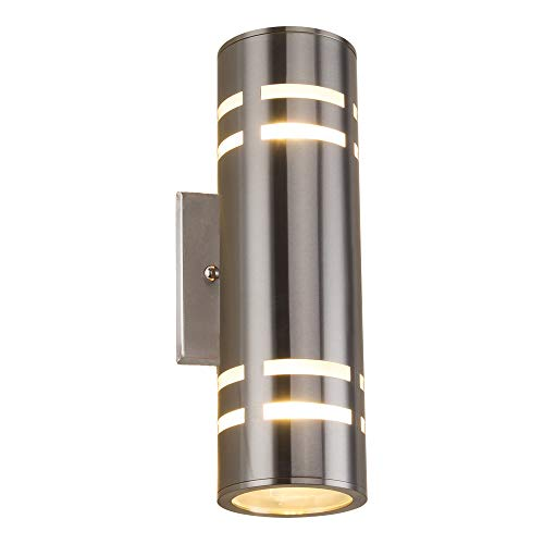 Outdoor Wall Light, Naturous PLT01 Waterproof Cylinder Porch Light Modern Outdoor Lighting Wall Sconce UL Listed, Stainless Steel 304 Suitable for Garden,Villa