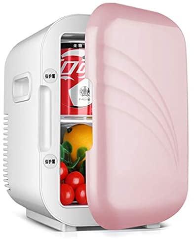 Mini Nevera 5L Más Frío/Más Cálido Refrigerador para El Cuidado De La Piel Y Los Cosméticos Ruido Bajo para Dormitorio, Oficina, Coche, Dormitorio, AC/DC,Rosado