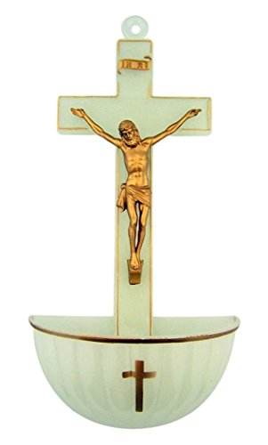 Holy Water Fonts for Home Catholic, Jesus Christ Crucifixion, Molded Acrylic Decoration, Luminous, 5 Inch
