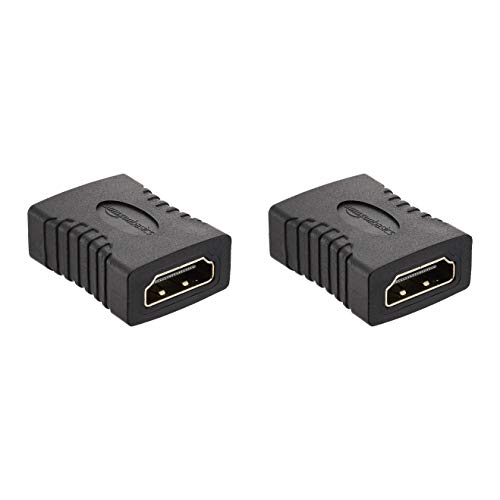 AmazonBasics HDMI Female to Female Coupler Adapter (2 Pack), 29 x 22mm, Black