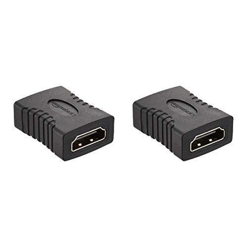 Amazon Basics - Adaptador HDMI (pack de 2), 29x22 mm, Negro