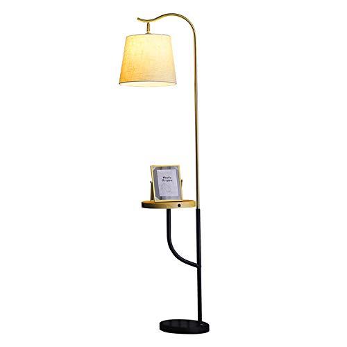 Lámpara de pie interior de madera moderna con estantes de almacenamiento de madera de 1 capa e interfaz USB blanca y carga inalámbrica, enchufe E27, lámpara de pie para sala de estar o dormitorio