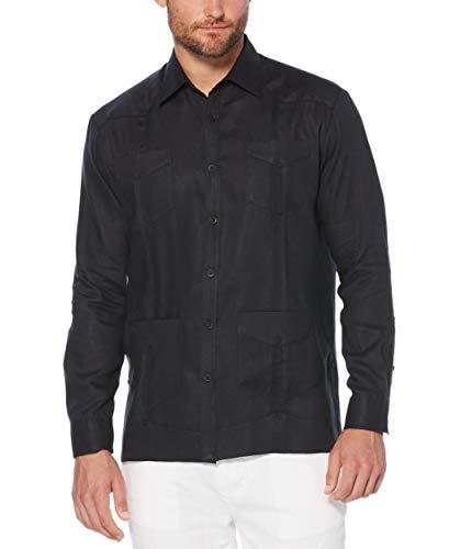 Cubavera Men's Long Sleeve 100% Linen Guayabera Shirt, Jet Black, Large