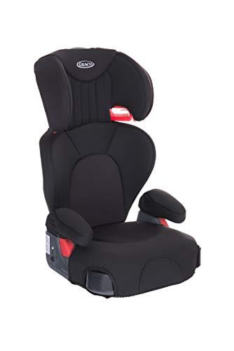Graco Logico L, Kindersitz 15-36 kg, Auto Kindersitz Gruppe 2/3, ab 4 bis 12 Jahre, höhenverstellbare Armlehnen, waschbare Sitzbezüge, Installation Fahrzeuggurt, Kindersitz schwarz, Midnight Black