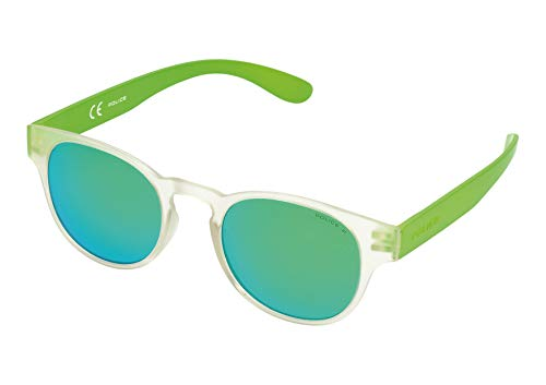 Police Exchange 2 Gafas de sol, TRANSPARANT CRYSTAL & BRIGHT GREEN FRAME/GREEN MIRROR LENS, 49 Unisex