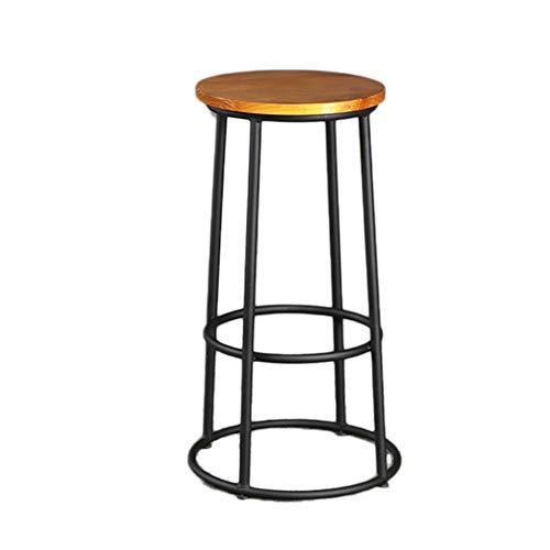YZT QUEEN Barkruk, Amerikaanse minimalistische smeedijzeren barstoel, vintage industriële stijl bistro kinderstoel, massief houten kussen, geschikt voor gezinnen, restaurants, coffeeshops en bars