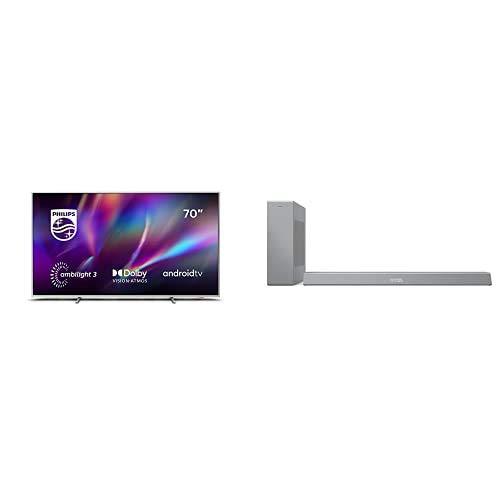 Philips 70PUS8505/12 Ambilight - Smart TV de 70' (4K UHD, P5 Engine, Dolby Vision∙Atmos, Control de Voz, Android TV) + Barra de Sonido con Subwoofer B8505/10 (Bluetooth, 240W, DTS Play-Fi) Plata