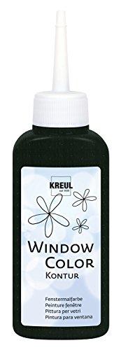 Kreul 42774 - Window Color Konturenfarbe, schwarz 80 ml, zur besseren Abgrenzung von Motiven, für glatte Oberflächen wie Glas, Spiegel und Fliesen