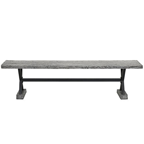 Christopher Knight Home Chalmette Outdoor Concrete and Steel Dining Bench, Grey