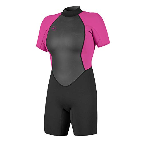 O'Neill Wetsuits Damen Reactor II 2mm Back Zip Spring Wetsuit Neoprenanzug, Black/Berry, 8