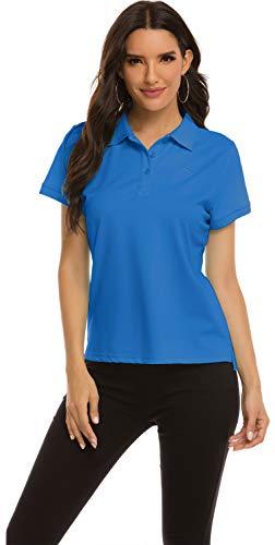 MoFiz Polo Mujer Camiseta Manga Corta Verano Algodón Polo Trabajo Deportivo Transpirable...