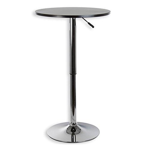IDIMEX Table Haute de Bar Vista Table bistrot Ronde Mange-Debout Hauteur réglable avec Plateau en MDF Noir et Socle en métal chromé