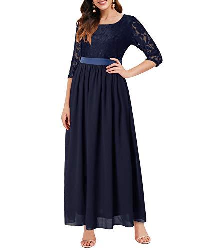 Auxo Damen Maxi Kleider Lang Abendkleid Festlich Cocktail Herbstkleider Elegant Brautkleider 01-Blau XL