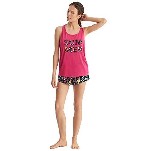 PROMISE Pijama de Mujer de Espalda Cruzada N11692 - Fucsia, XL
