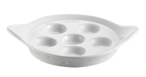 CAC China Porcelain Round Escargot Dish with 2 Handles, 8-1/2 by 1-1/4-Inch, Super White, Box of 36