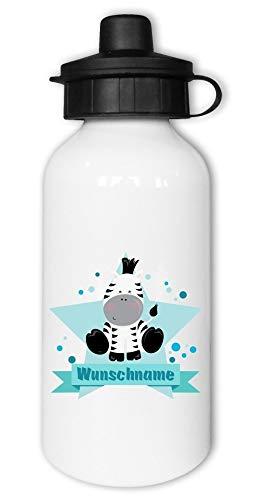 Samunshi® Kinder-Trinkflasche mit Zebra und Namen als Motiv für Schule Sport Freizeit personalisierbar Zebra