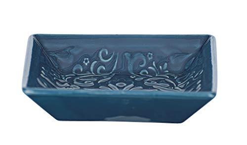 Wenko Seifenschale Cordoba, hochwertige Seifenablage aus Keramik mit spanisch-maurischen Ornamenten, geeignet für Badezimmer und Küche, Maße: 2.5 x 10.5 x 10.5 cm, Blau