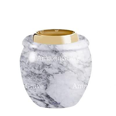 AmazinGrave - Colecciones en mármol de Carrara para decoración de lápidas o Tumba - Base de lámpara votiva Amphòra 10cm - con Montaje al suelo3250-5150