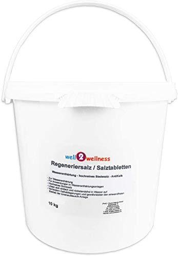 well2wellness Regeneriersalz/Salztabletten - Hochreines Siedesalz zur Wasserenthärtung im 10kg Eimer