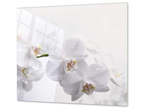 Cubre vitros de cristal templado - Tabla para cortar de cristal – Tabla para amasar y protector de vitro – UNA PIEZA (60 x 52 cm) o DOS PIEZAS (30 x 52 cm); D06 Serie Flores: Orquídea 1