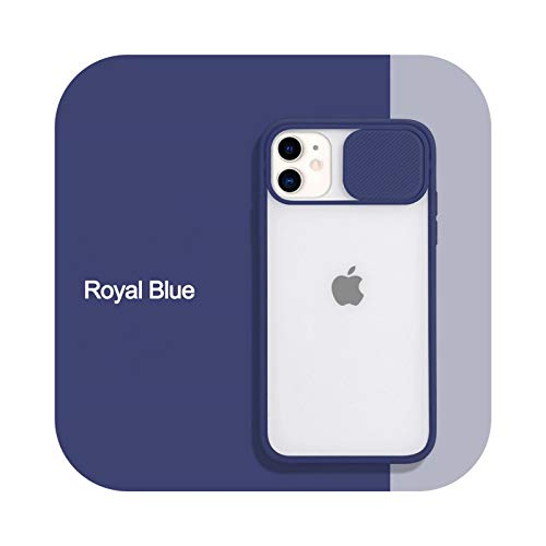Funda para iPhone 11 12 Pro Max X XS XR Xs Max Mate de PC dura transparente para iPhone 12 Mini 6 6S 7 8 Plus-azul real para iPhone 12 Mini