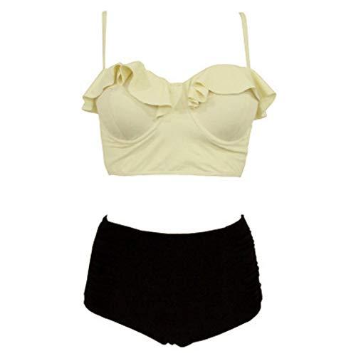 Yuelie - Bikini para Mujer, diseño de Lunares, Cintura Alta, Bikini de Dos Piezas, Traje de baño sin Espalda Beige Beige L