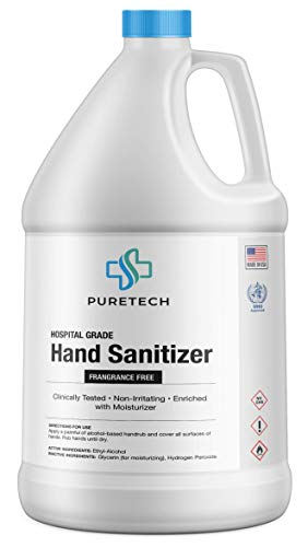 PureTech Hand Sanitizer Liquid, 1 Gallon, 128 Fl Oz, 80+% Alcohol, WHO Approved - Made in USA - Fragrance Free