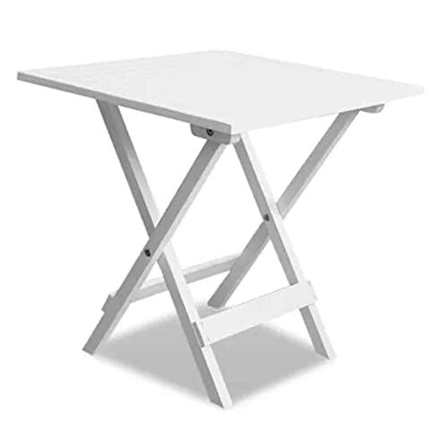 Mesa auxiliar de café de madera rústica, plegable, color blanco, para fiestas pequeñas, acampadas y viajes, mesa auxiliar plegable para patio al aire libre, apta para patios interiores y exteriores