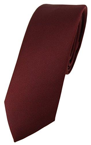 TigerTie schmale Designer Krawatte in weinrot einfarbig Uni - Tie Schlips