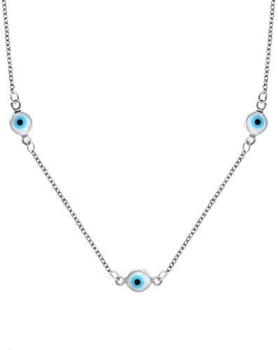 Collar Collar De Encanto De Ojo Malvado Turco Azul Collar De Cadena De Cuello Largo De Cobre Joyería para Mujeres Niñas 45 + 5Cm