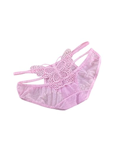 Legou Damen Elegante Hohl Thongs Schmetterling-Stickerei Tanga G-Strings Rosa Einheitsgröße