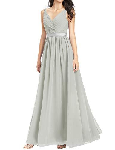HUINI Brautjungfernkleider Chiffon Abendkleid Ballkleid Lang Damen Standesamt Kleid Partykleid Festkleid Silber 46