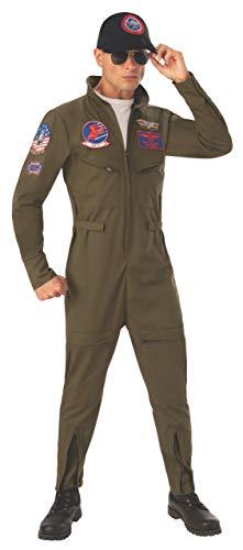 Men's Deluxe Top Gun Flight Suit Costume, S to XL