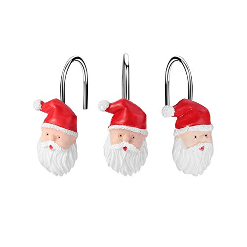 FITNATE 12PCS Anti-Rust Santa Claus Shower Curtain Hooks for Winter, Thanksgiving, Christmas, Resin Decorative Curtain Hooks Used in Bathroom, Bedroom and Living Room, Gift Set