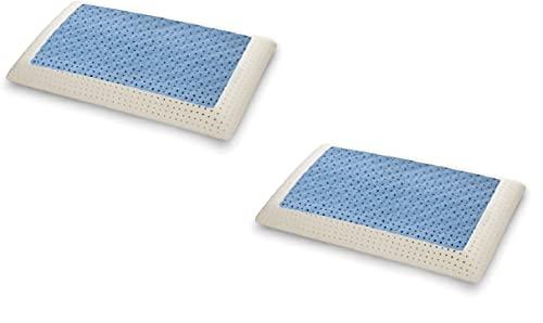 Materassiedoghe Offerta Cuscino SeaWave in MyMemory Fresh Memory Foam Termosensibile Altamente Traspirante Fresco - 100% Made in Italy - Fodera Cotone Naturale (2 x Cuscino Fresh)
