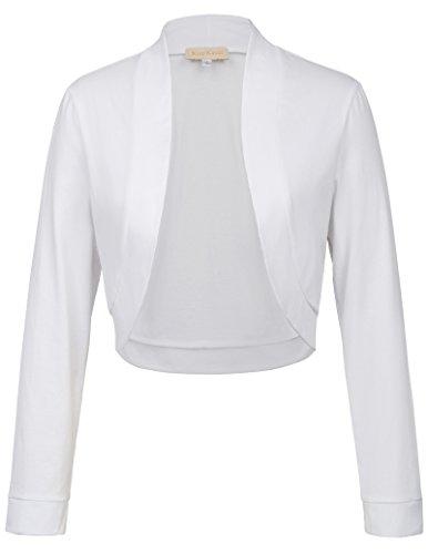 Kate Kasin Boléro Femme Chic Blanc en Coton Doux et Confortable S KK823-2