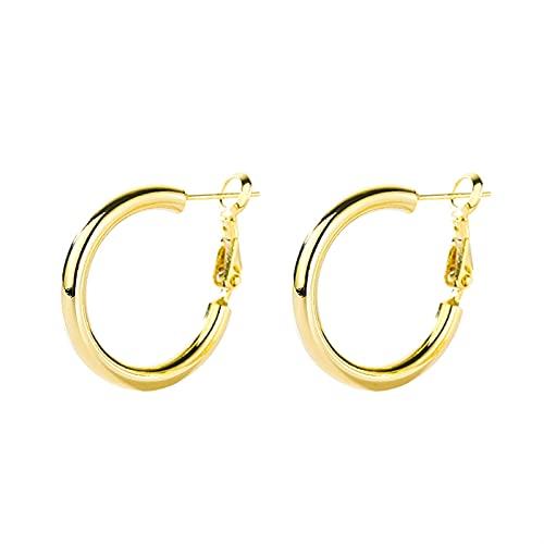 Orecchini circolari Orecchini in argento con clip per l'orecchio Orecchini in argento da donna Orecchini in argento con orecchini eleganti da donna coreano per donne ( Metal Color : Gold Large Pair )