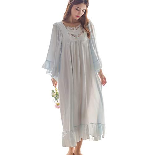Damen Nachthemd Frauen Vintage Nachthemd Romantisch Klassisch Prinzessin Lounge Pyjama Nachtwäsche - Blau - Einheitsgröße
