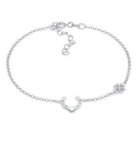 Pulsera de mujer de plata con trébol (6 mm) y símbolo de herradura (10 mm), pulsera con colgante de la suerte de plata de ley 925, pulseras con símbolo de la suerte para mujeres y niñas, regalo