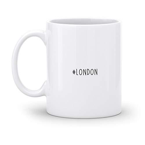 malango Tasse #London Kaffeetasse Kaffeebecher Keramiktasse spülmaschinenfest mikrowellengeeignet Hashtag Geschenkidee Geschenk weiß 375 ml personalisiert