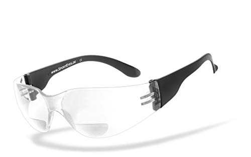 HSE® SportEyes® | BIFOKAL Brille: +2,00 DIOPTRIEN | Sportbrille mit Lesehilfe | UV400 Schutzfilter, HLT® Kunststoff-Sicherheitsglas nach DIN EN 166 | Sportbrille, Bikerbrille, Fahrradbrille mit Nahsichtkorrektur | Brillengestell: schwarz, Brille: Sprinter