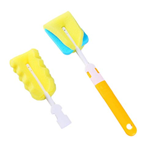 BESTONZON 2 Pcs Brosse De Nettoyage En Plastique Poignée Éponge Doux Mamelon Bébé Bouteille Lait Verre Biberon Épurateur Cleanig Brosse