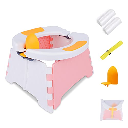 Portable Potty Training Seat for Toddler, Travel Potty for Kids, Foldable Toilet with 60 Pcs Travel...