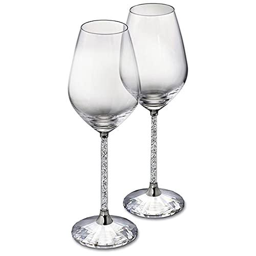 Cristallo Diamante Bicchiere da Vino Rosso Un Paio di Scatole Regalo Un Paio di Bicchieri Calice da Champagne Bicchiere da Vino Moda Regalo di Nozze di Fascia Alta (Color : Clear, Size : 350ml*2)